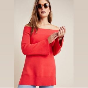 Anthropologie | Elise Ribbed Tunic Sweater in Red